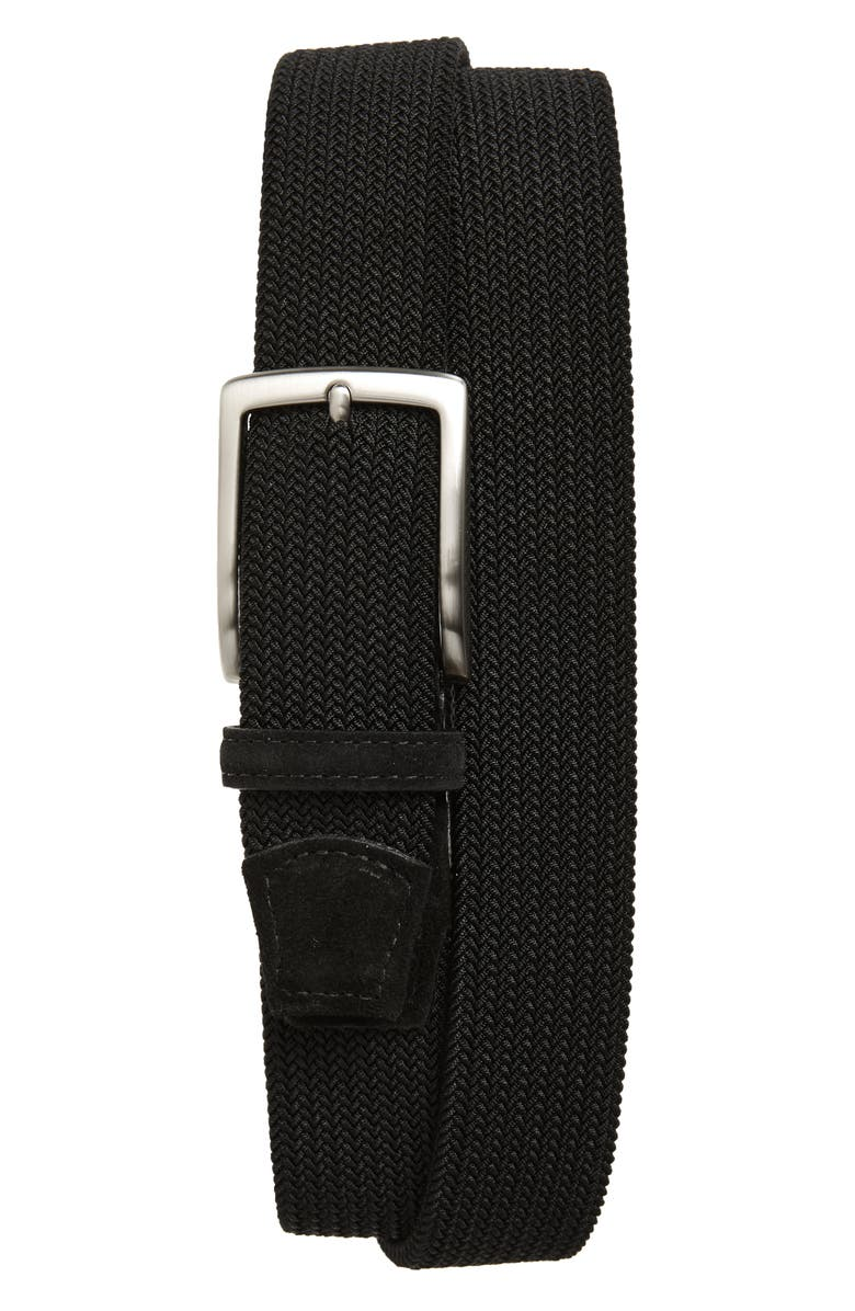 TORINO Woven Stretch Belt, Main, color, BLACK