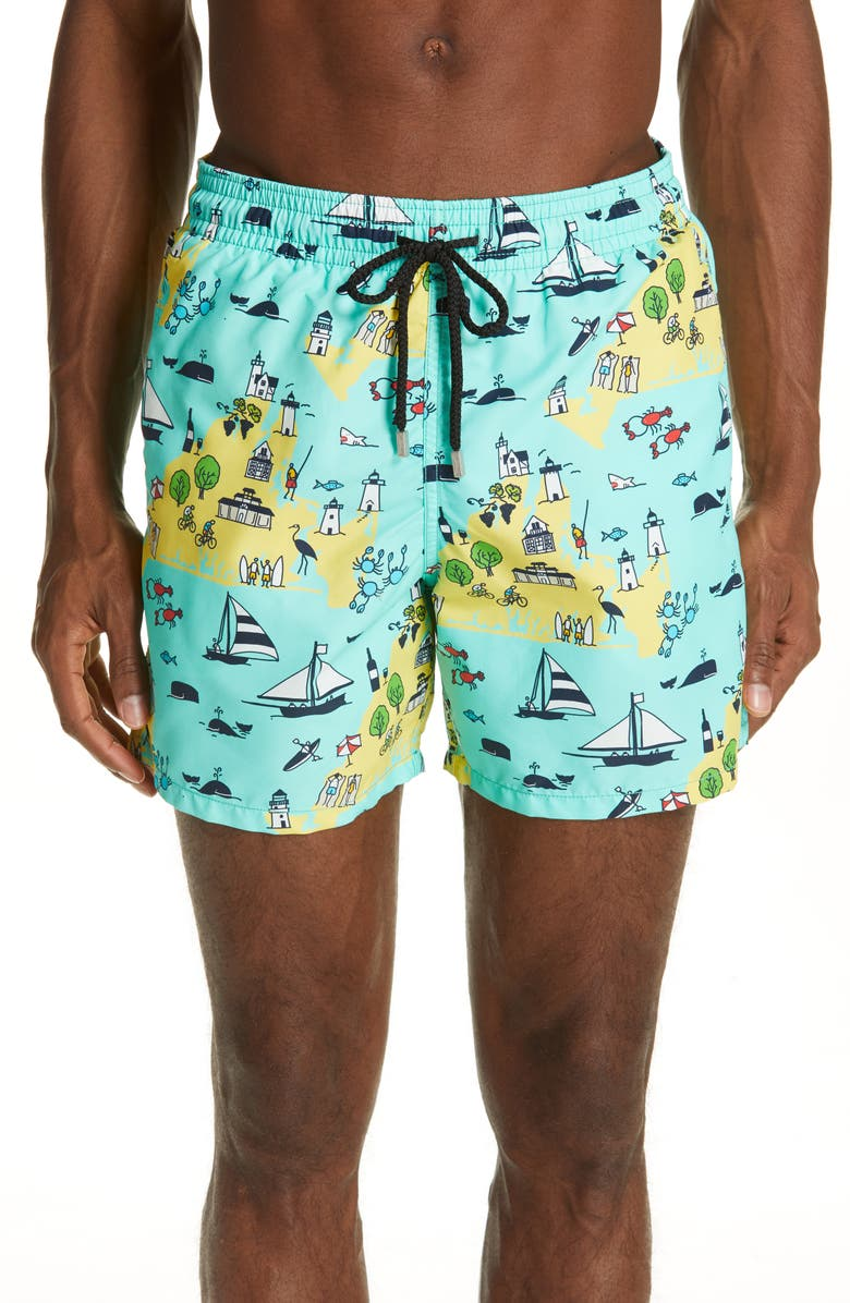 VILEBREQUIN Martha's Vineyard Print Swim Trunks, Main, color, GREEN