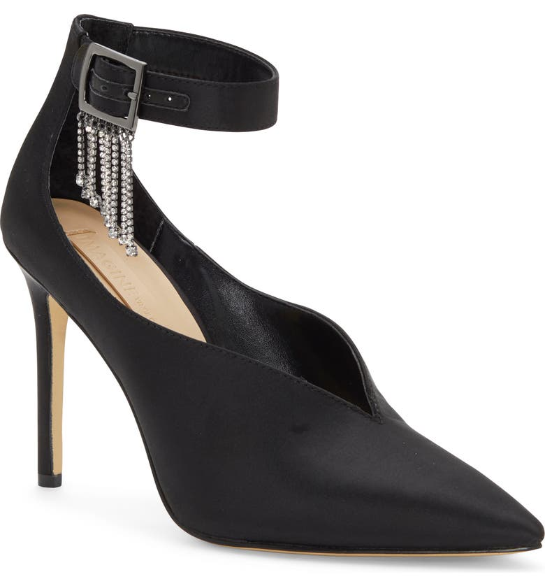 IMAGINE BY VINCE CAMUTO Greer Crystal Chain Pointed Toe Pump, Main, color, BLACK SATIN