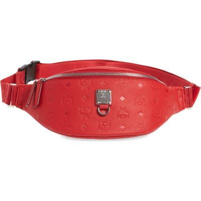 Mcm Fursten Visetos Leather Belt Bag - Red