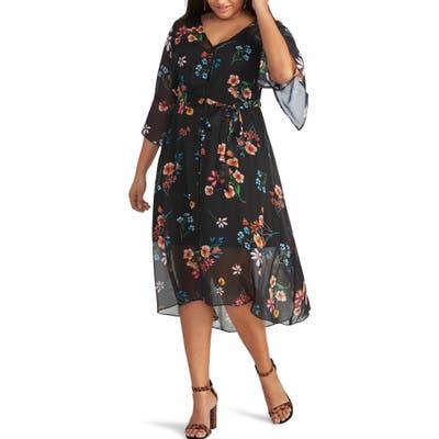 Plus Size Rachel Rachel Roy Rosita Chiffon Overlay Dress, Black