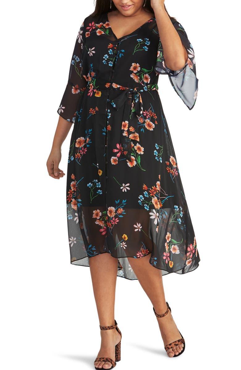 RACHEL RACHEL ROY Rosita Chiffon Overlay Dress, Main, color, BLACK MYSTERY COMBO