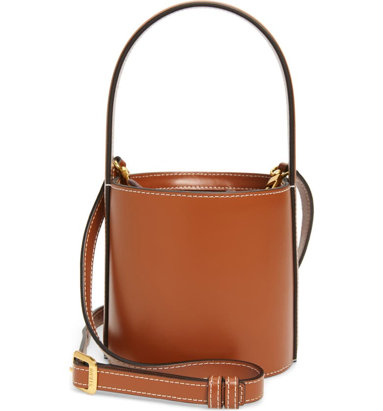 STAUD Mini Bissett Leather Bucket Bag, Main, color, TAN