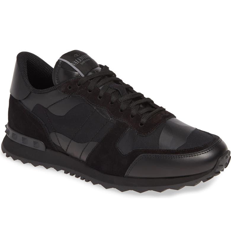 VALENTINO Garavani Camo Rockrunner Sneaker, Main, color, BLACK