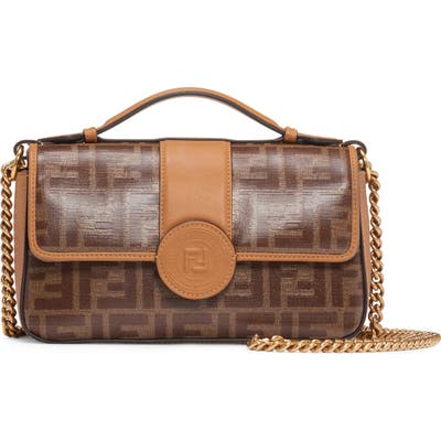 Fendi Small Double-F Logo Canvas Crossbody Bag - Brown