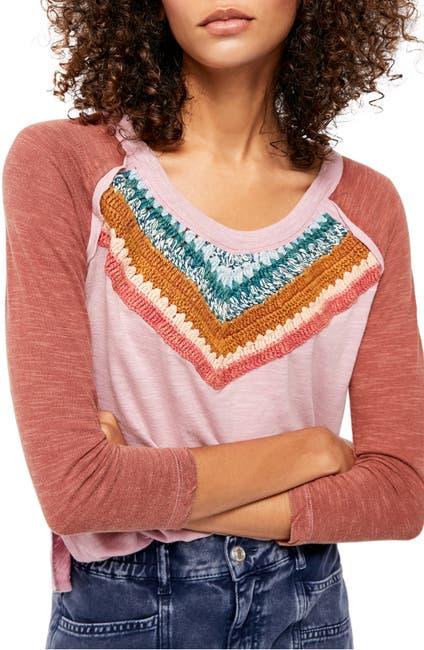 Image of Free People Spring Bound Crochet Paneled Shirt