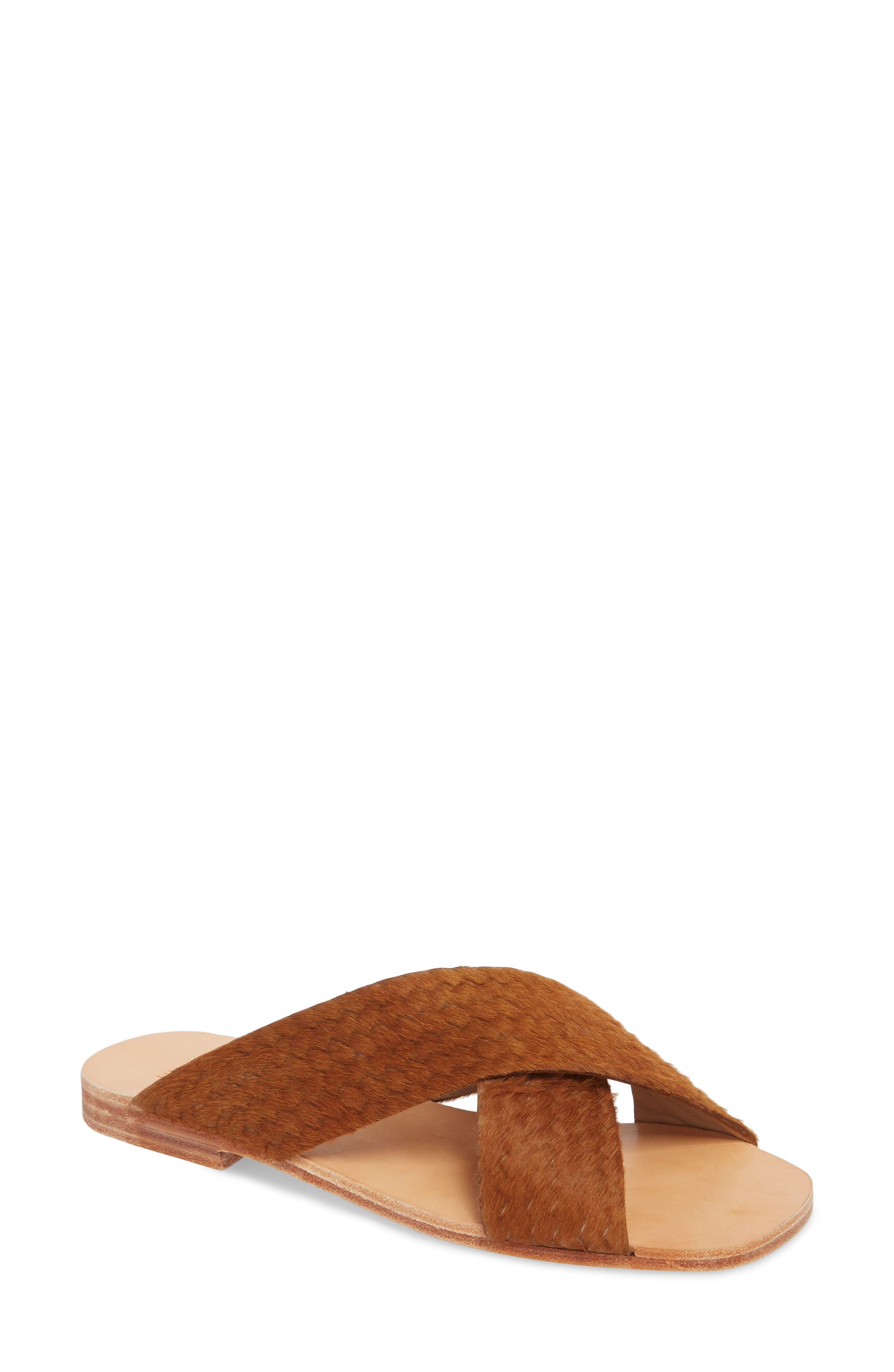 Huma Blanco Odessa Genuine Calf Hair Slide Sandal, Brown