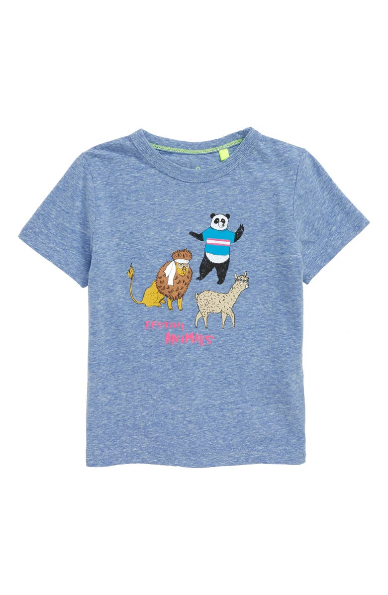 MINI BODEN Sports Fun Graphic T-Shirt, Main, color, DUKE BLUE MARL