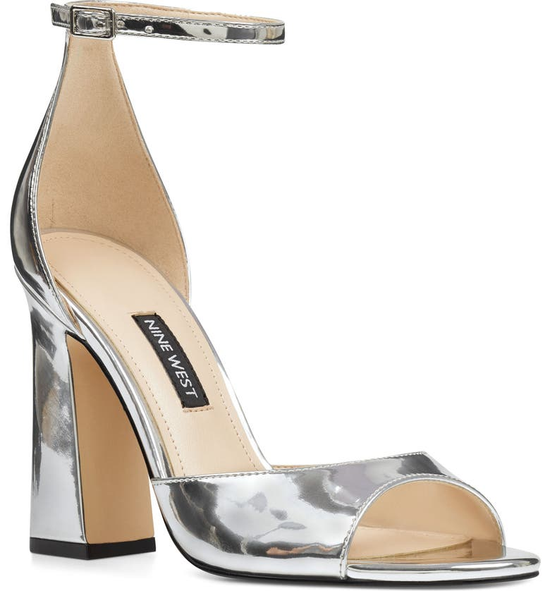 NINE WEST Gavyn Ankle Strap Sandal, Main, color, SILVER FAUX PATENT LEATHER