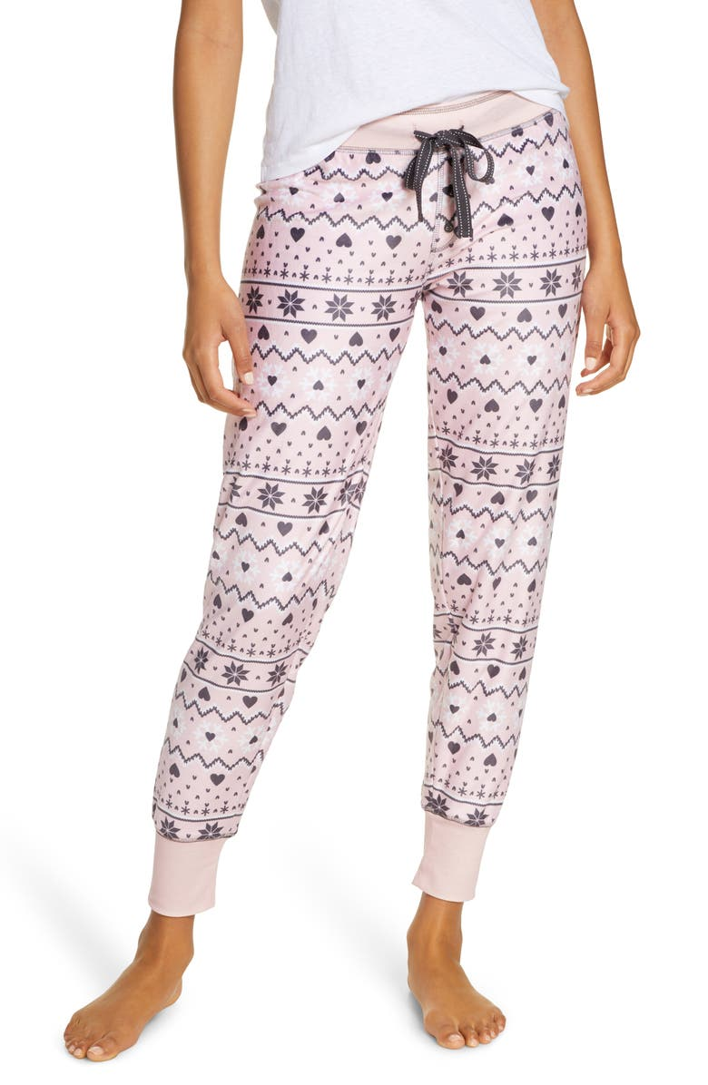PJ SALVAGE Oh My Velour Pajama Pants, Main, color, DUSTY PINK