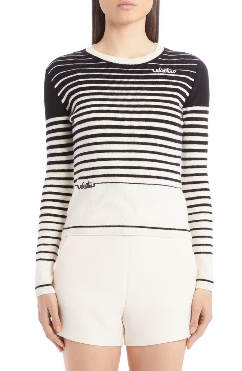 VALENTINO Stripe Logo Wool & Cashmere Sweater, Main, color, 001
