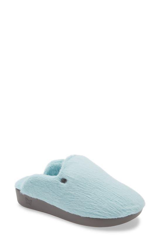 Alegria Leisurelee Faux Fur Slipper In Aqua