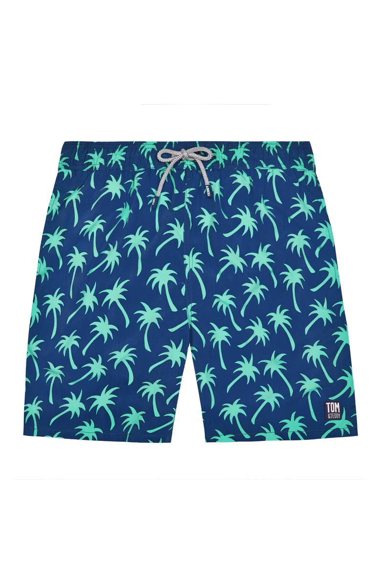 TOM & TEDDY Palm Print Swim Trunks, Main, color, NAVY/ SPRING GREEN