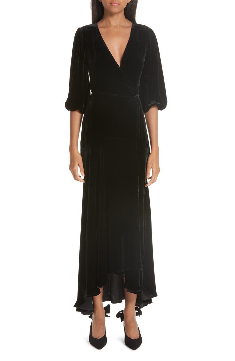 GANNI Velvet Wrap Dress, Main, color, 001