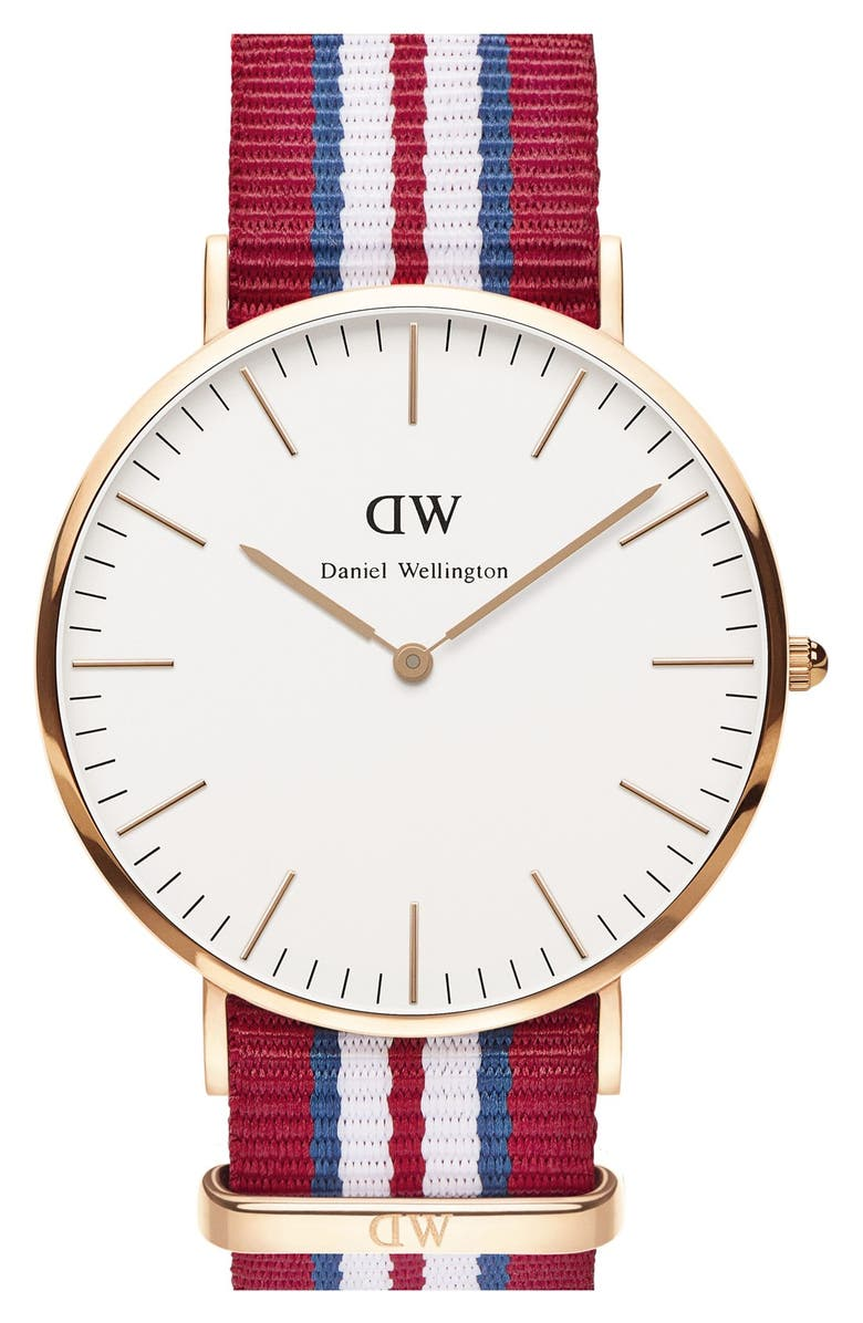 DANIEL WELLINGTON 'Classic Exeter' NATO Strap Watch, 40mm, Main, color, 600