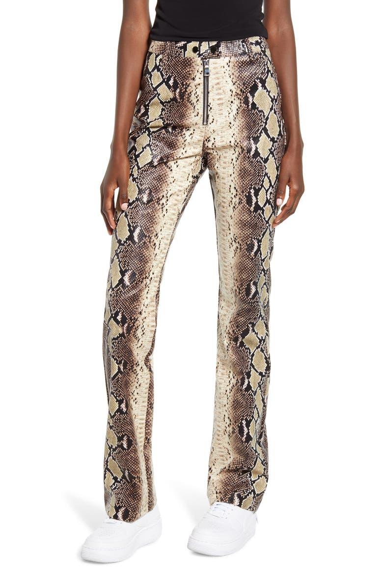 I.AM.GIA Brandy Snakeskin Print High Waist Pants, Main, color, TAN