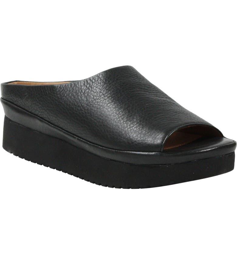 L'AMOUR DES PIEDS Anuncia Slide Sandal, Main, color, BLACK LEATHER