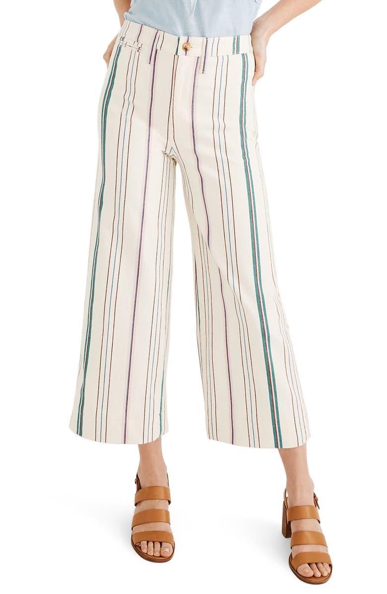 MADEWELL Emmett Stripe Wide Leg Crop Pants, Main, color, 650