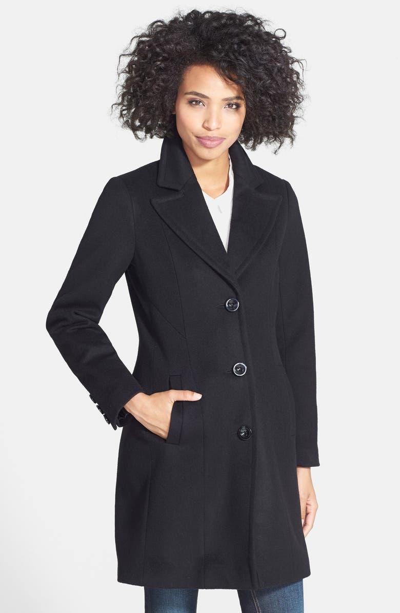 KRISTEN BLAKE Wool Blend Walking Coat, Main, color, 001