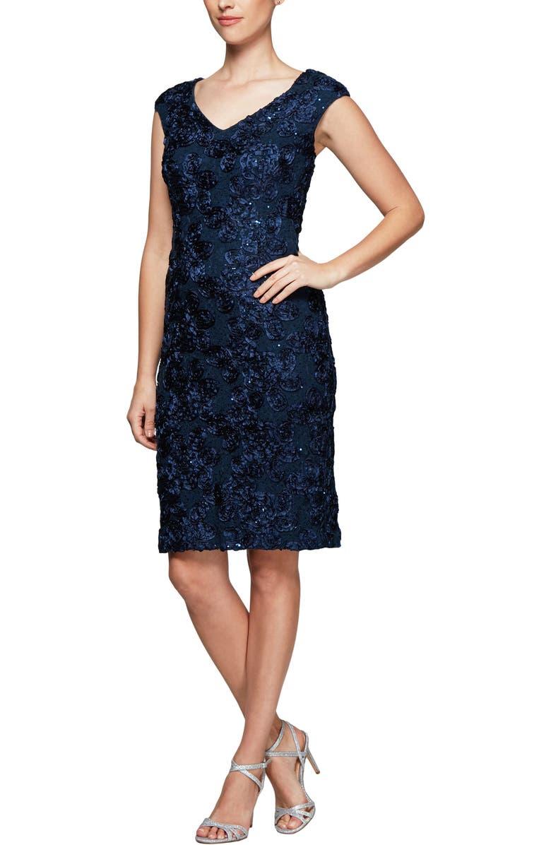 ALEX EVENINGS Alex Evening Rosette Sheath Dress, Main, color, NAVY