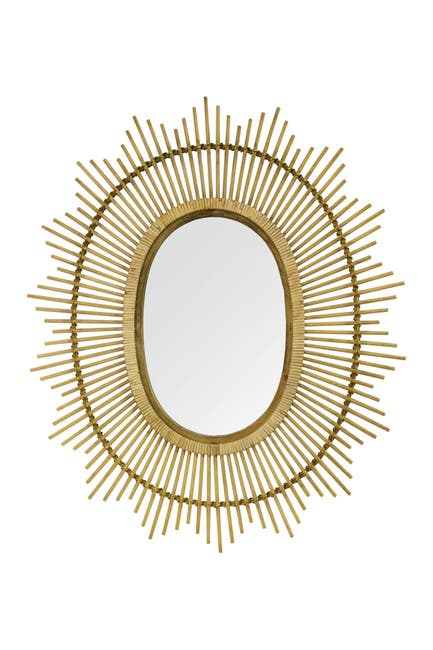 Image of Stratton Home Light Brown Kelly Bamboo Oval Wall Mirror