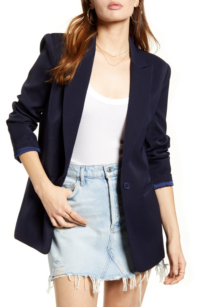 ENDLESS ROSE Tailored Single Button Blazer, Main, color, NAVY