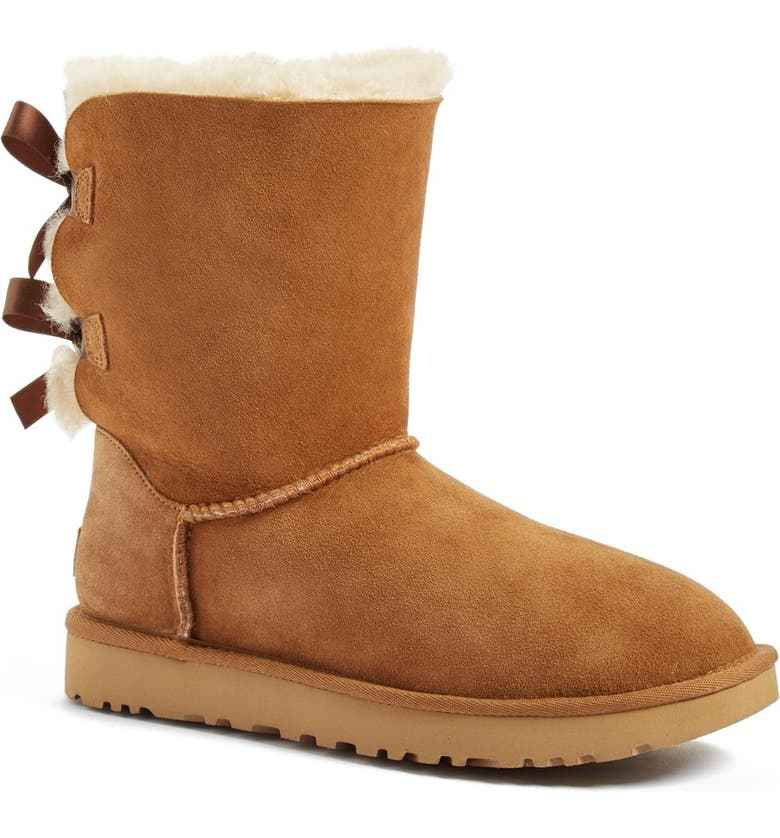 UGG<SUP>®</SUP> Bailey Bow II Genuine Shearling Boot, Main, color, CHESTNUT SUEDE
