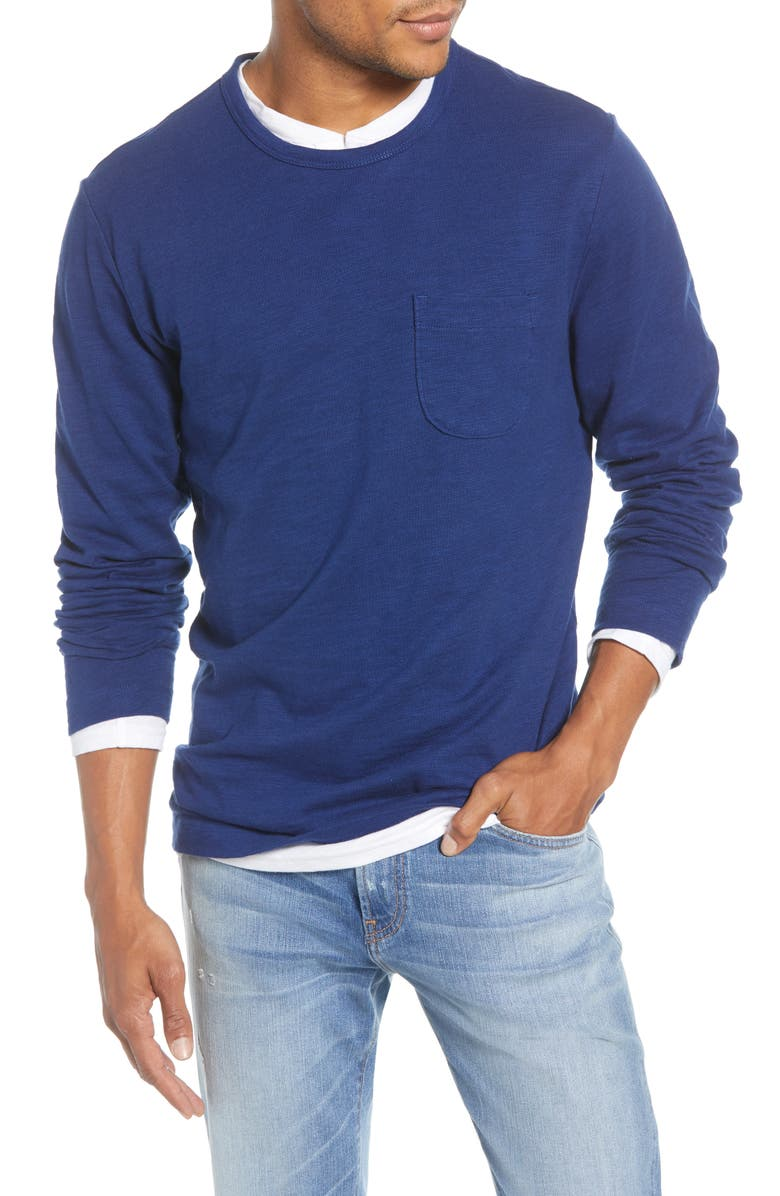 1901 Long Sleeve Slub Pocket T-Shirt, Main, color, BLUE DEPTHS