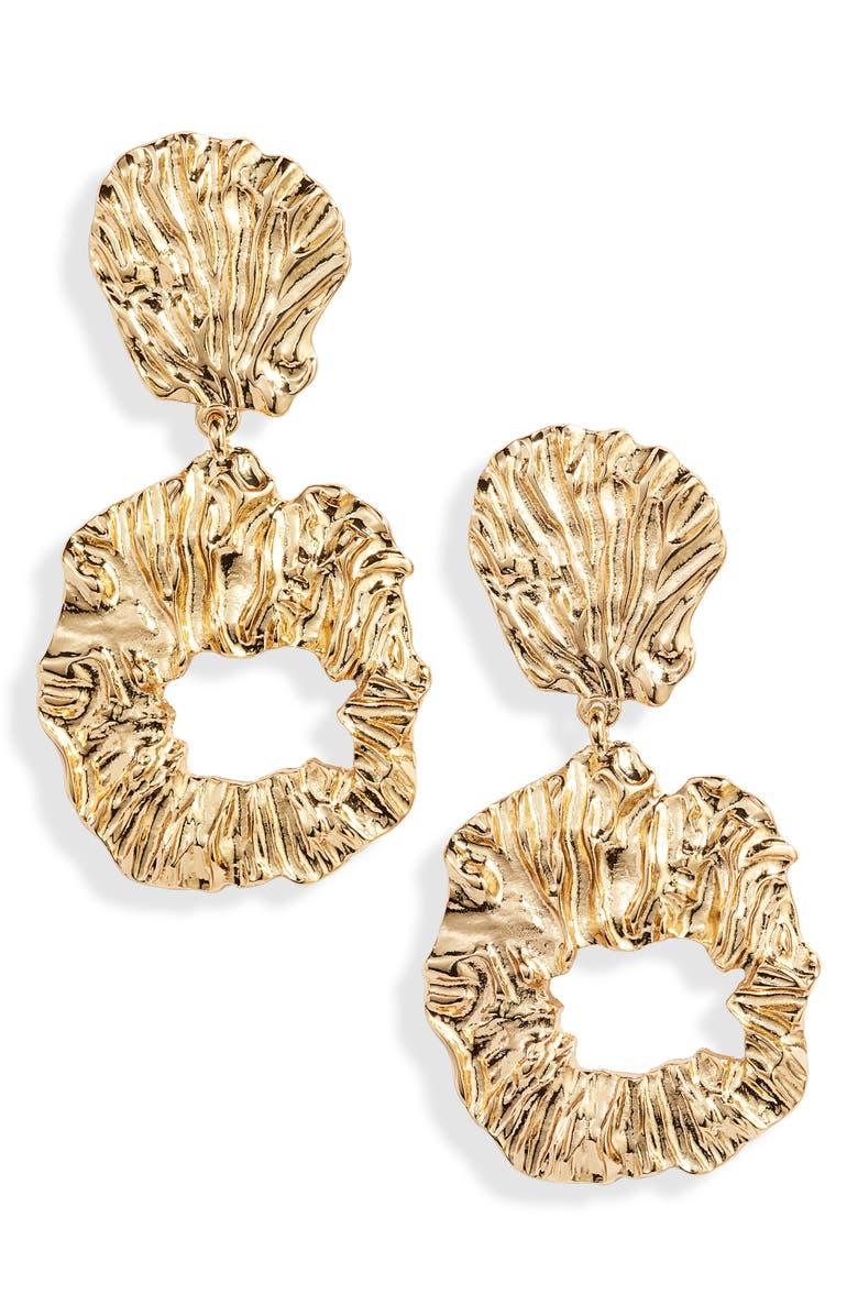 ETTIKA Foil Drop Earrings, Main, color, GOLD
