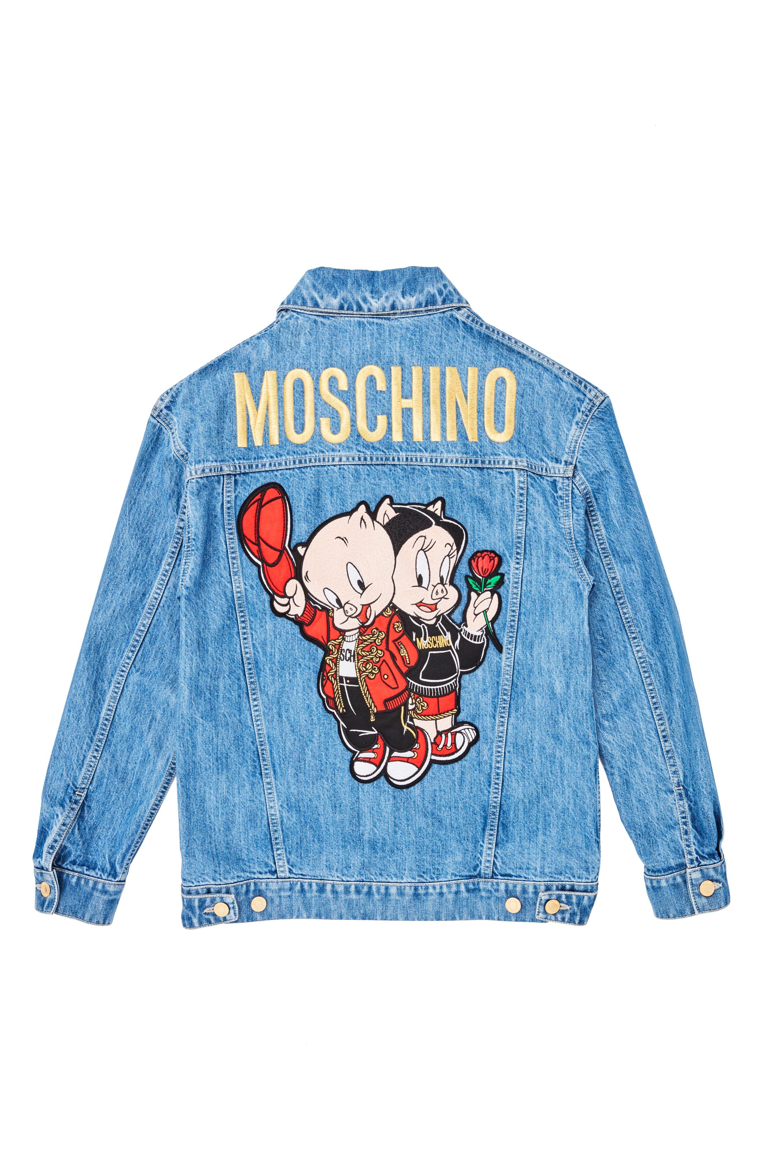 ,                             Porky & Petunia Pig Denim Jacket,                             Alternate thumbnail 2, color,                             BLUE