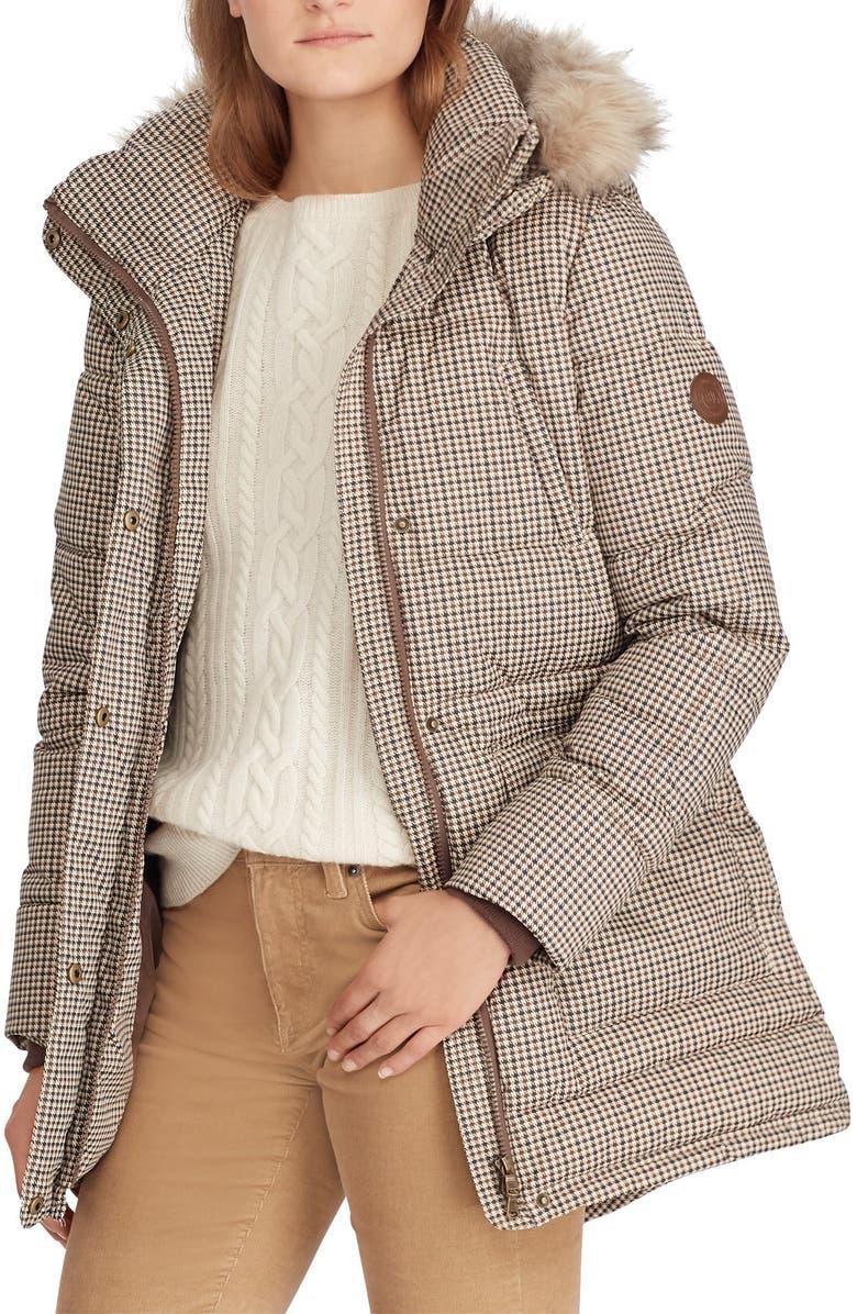 LAUREN RALPH LAUREN Faux Fur Trim Puffer Coat, Main, color, HOUNDSTOOTH