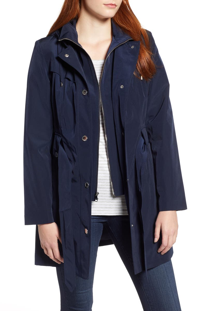 LONDON FOG Hooded Trench Coat, Main, color, NAVY