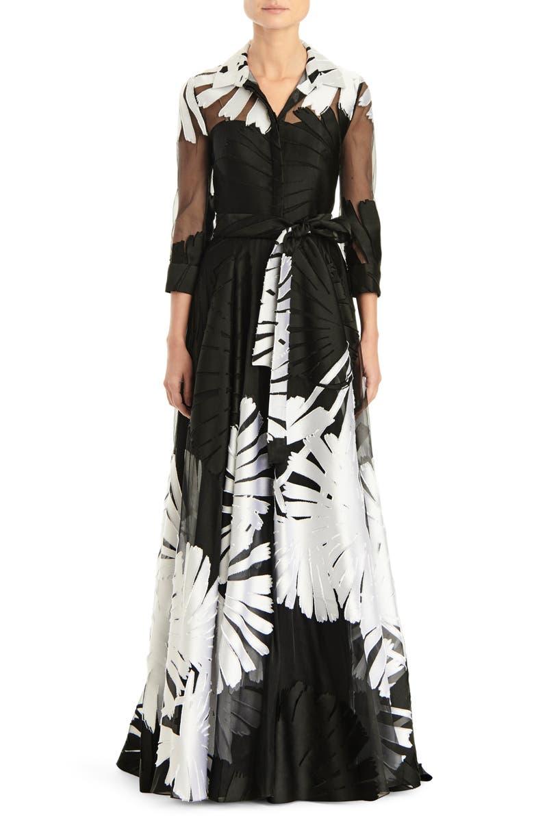 CAROLINA HERRERA Fil Coupé Shirtdress Gown, Main, color, 001