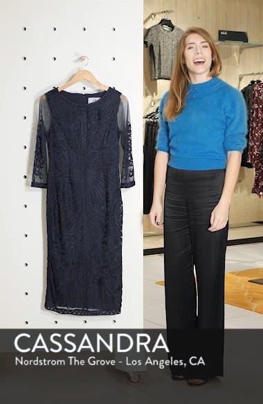 Sheer Sleeve Soutache Sheath Dress, sales video thumbnail