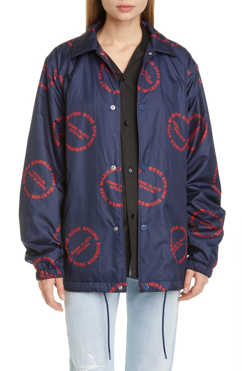 MARTINE ROSE 2020 Nylon Coach's Jacket, Main, color, RED PRINT
