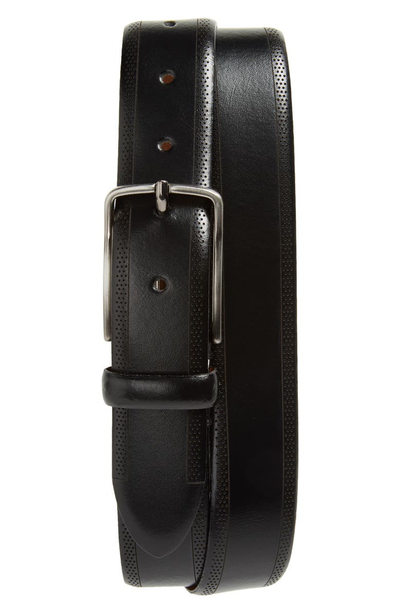 JOHNSTON & MURPHY Perforated Leather Belt, Main, color, 001