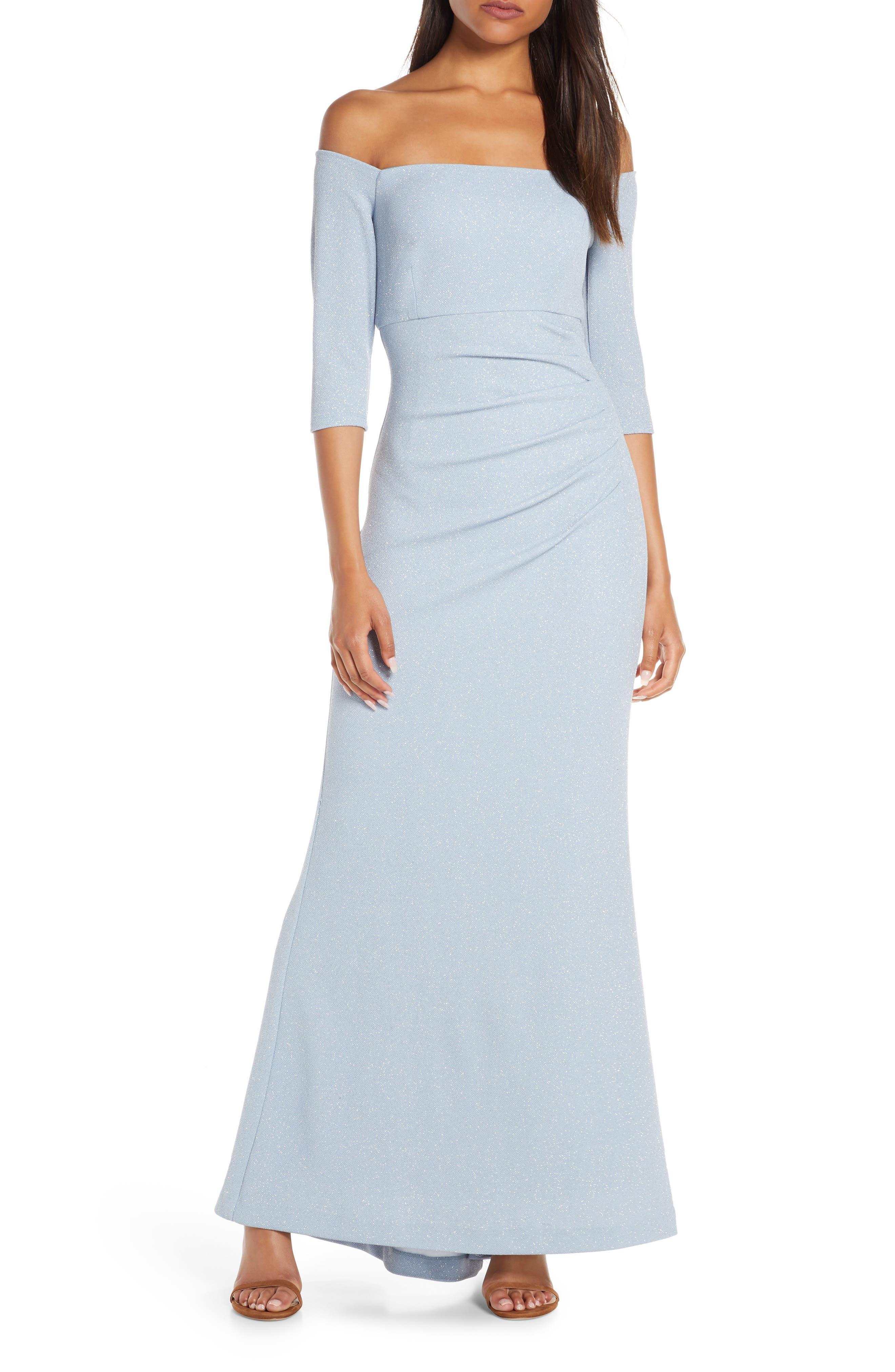 Petite Eliza J Off The Shoulder Glitter Gown, Blue