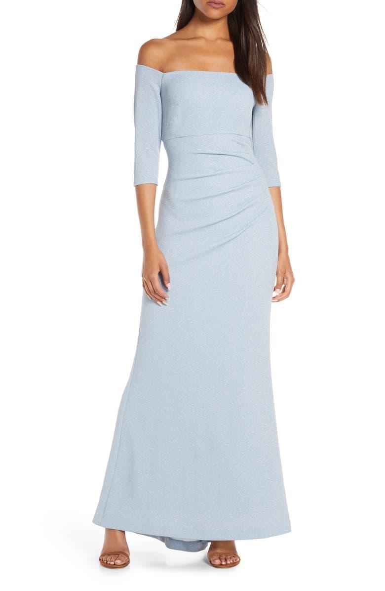 ELIZA J Off the Shoulder Glitter Gown, Main, color, BLUE