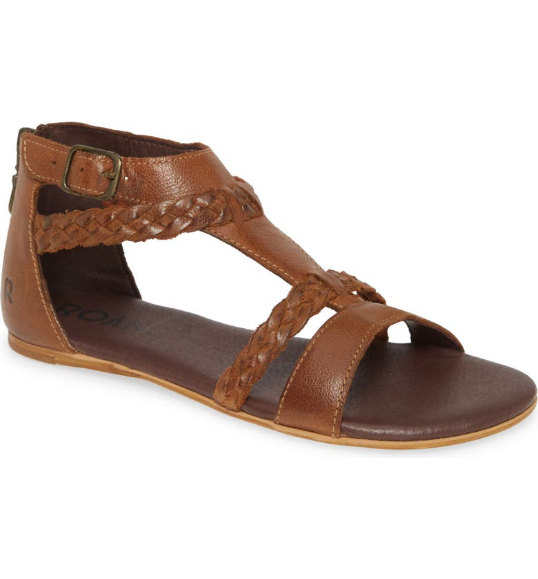ROAN Posey Braided V-Strap Sandal, Main, color, TAN LEATHER