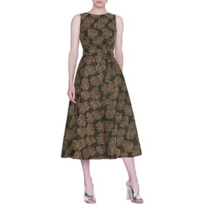 Akris Punto Desert Flower Jacquard Midi Dress, Black
