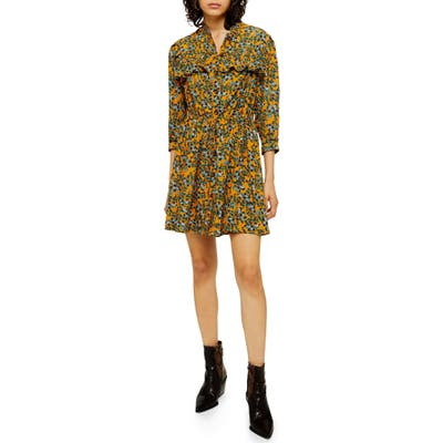 Petite Topshop Floral Print Pleat Minidress, P US (fits like 0P) - Yellow