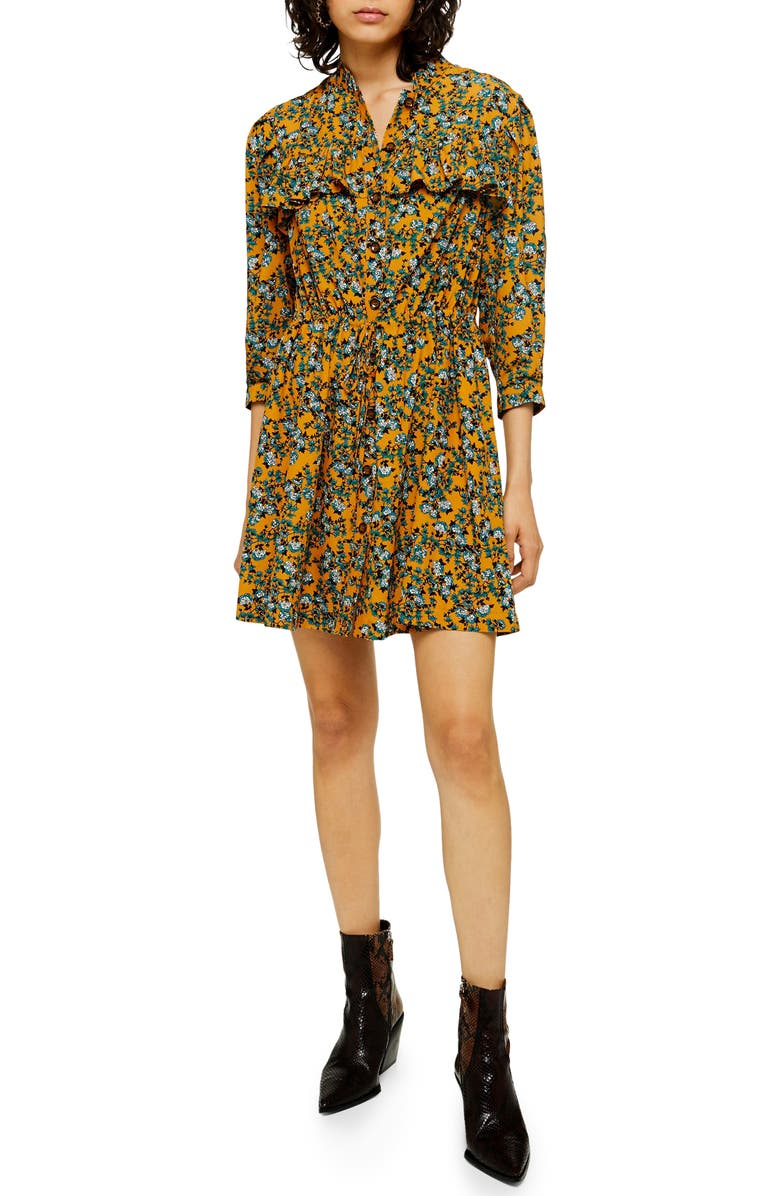 TOPSHOP Floral Print Pleat Minidress, Main, color, MUSTARD MULTI