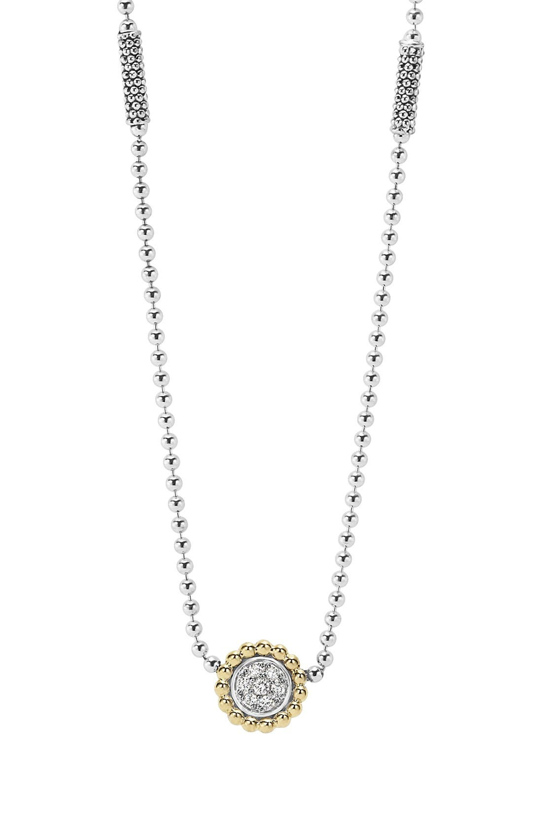'Caviar' Circle Pendant Necklace, Main, color, SILVER/ GOLD