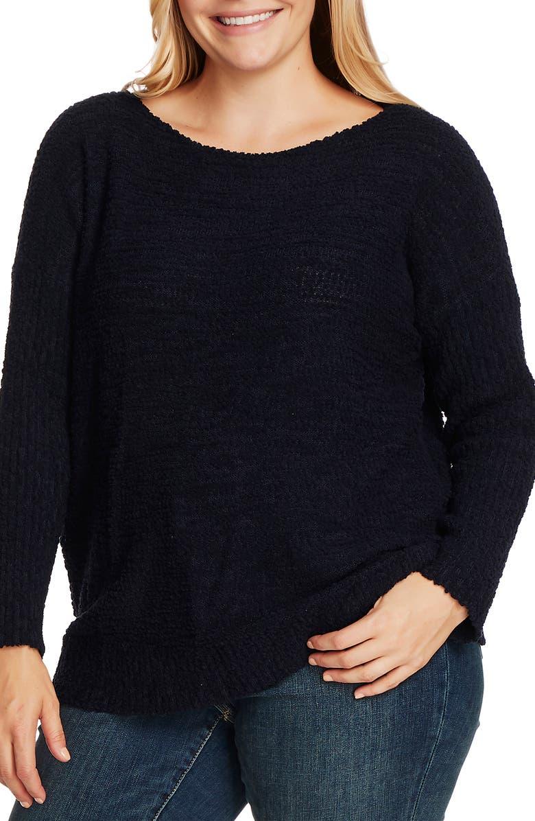 VINCE CAMUTO Teddy Yarn Boat Neck Sweater, Main, color, CAVIAR