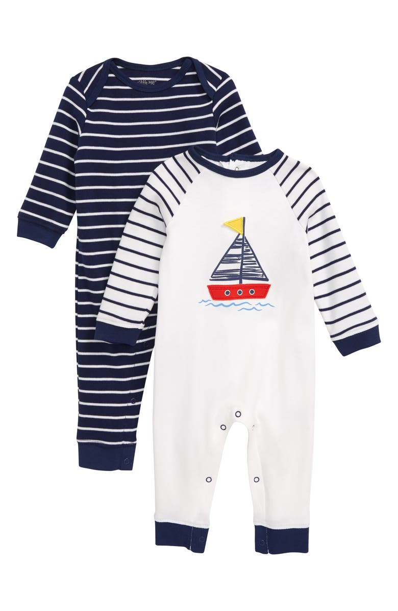 LITTLE ME Sailboat 2-Pack Rompers, Main, color, 400