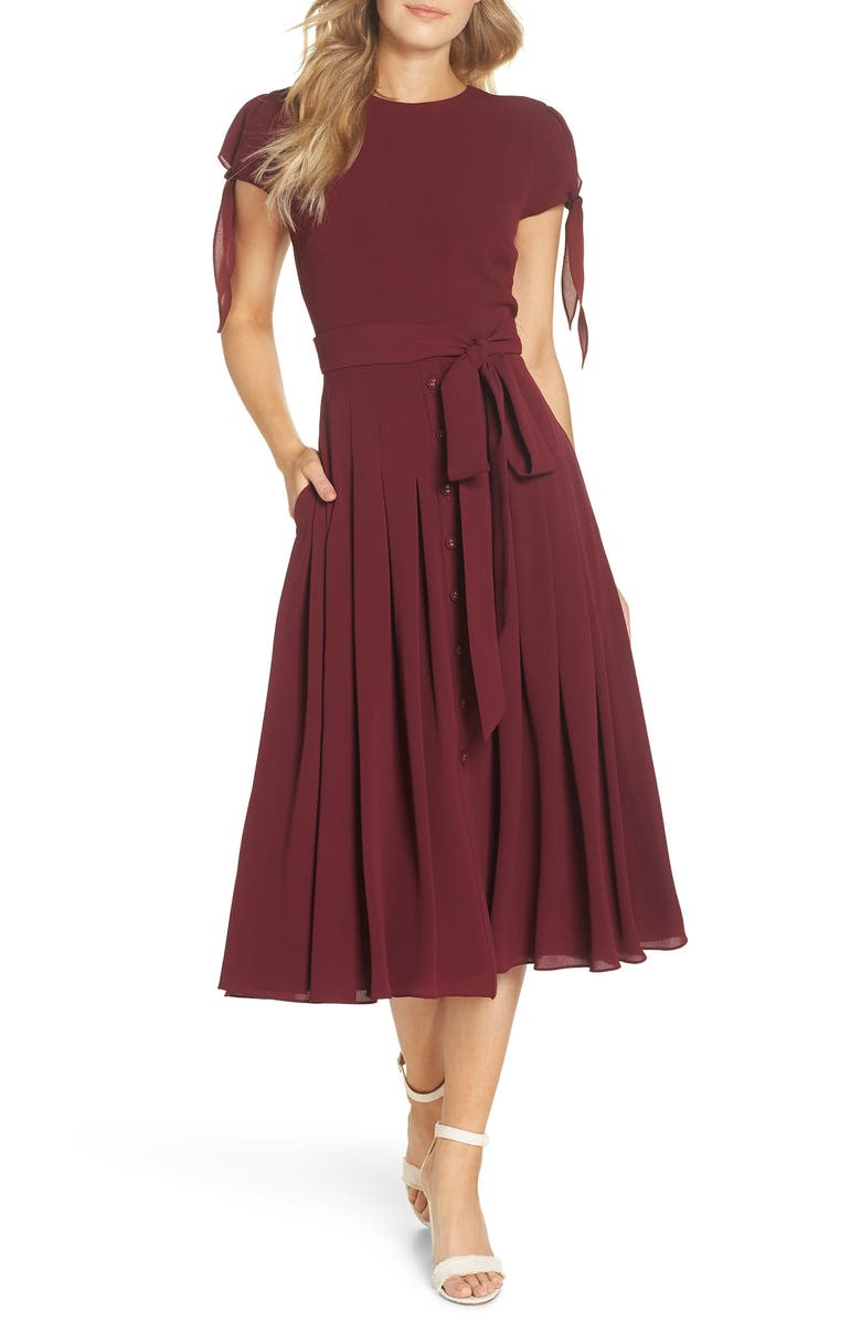 GAL MEETS GLAM COLLECTION Bette Pleated Midi Dress, Main, color, OXBLOOD- CUSTOM