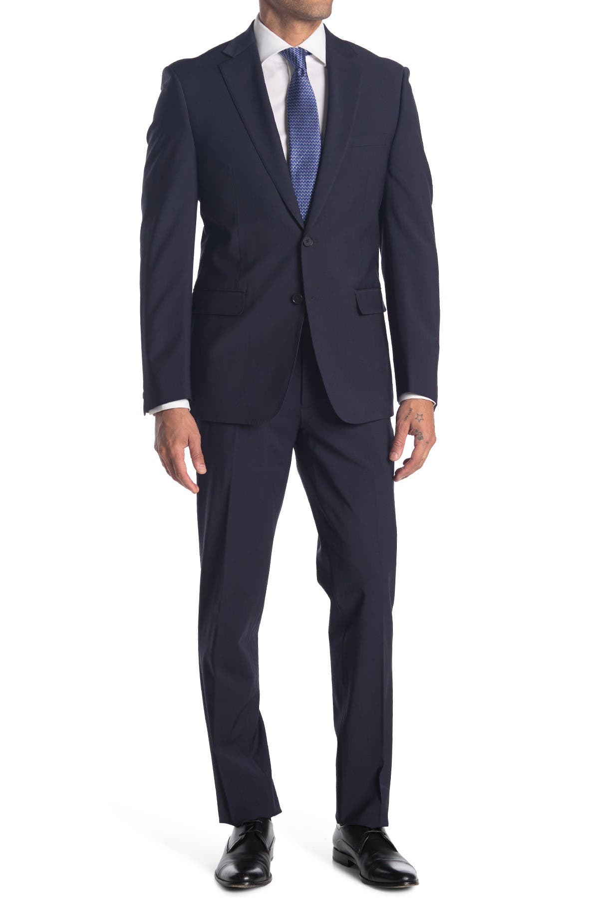 Image of Calvin Klein Navy Solid Two Button Notch Lapel Suit