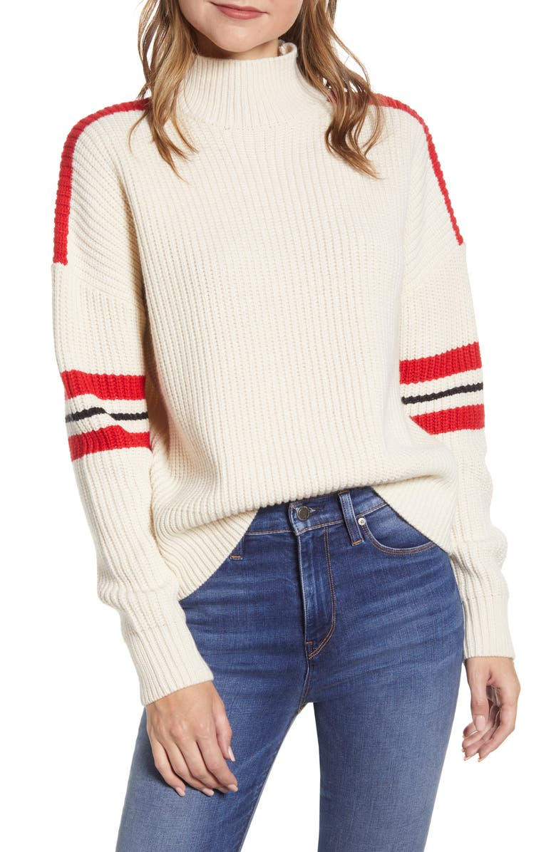 SANCTUARY Speedway Turtleneck Sweater, Main, color, MOONSTONE/ PARTY RED/ BLACK