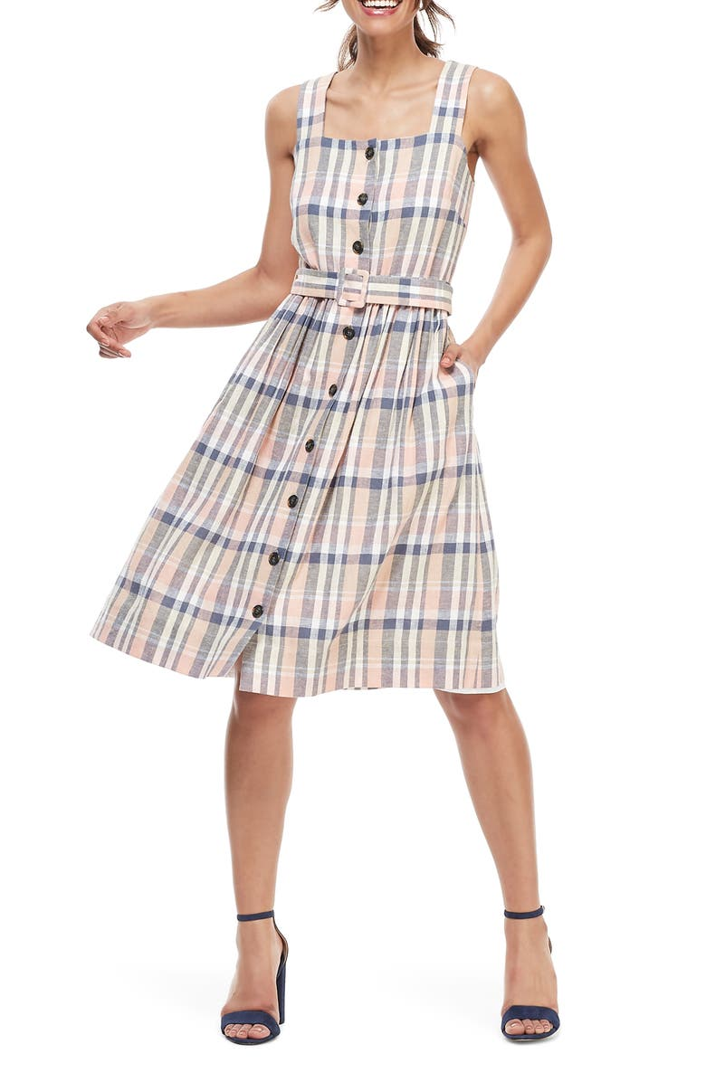GAL MEETS GLAM COLLECTION Peyton Belted Linen Blend Sundress, Main, color, NAVY/ PEACH