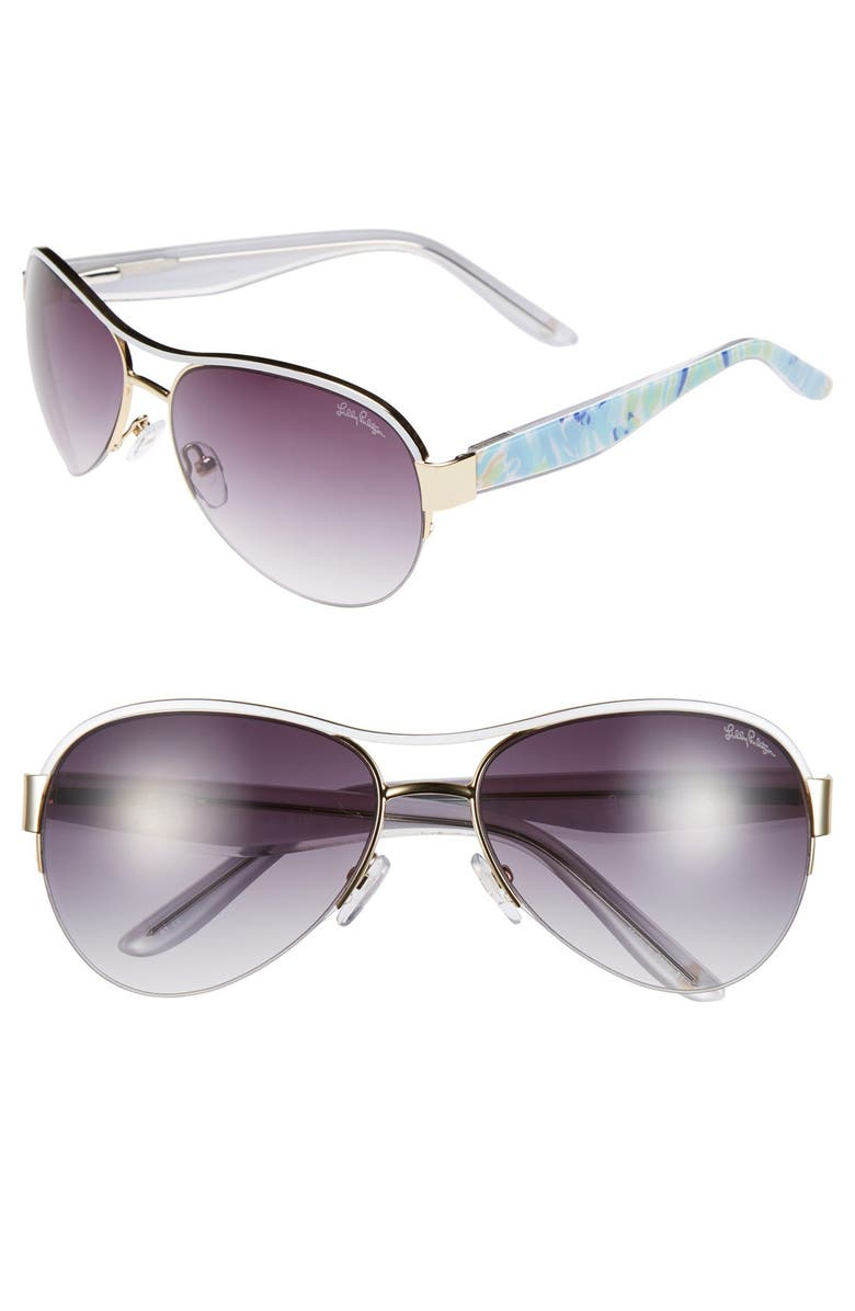 LILLY PULITZER<SUP>®</SUP> Lilly Pulitzer 'Carlee' 58mm Aviator Sunglasses, Main, color, 711